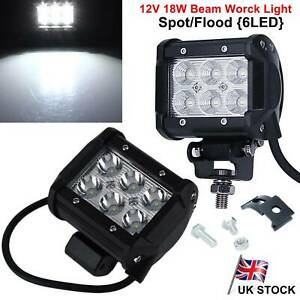 2X-4-034-Inch-6-LED-18W-12V-Spot-Flood-Beam-Work-Light-Off-Road-Driving-Car-Truck