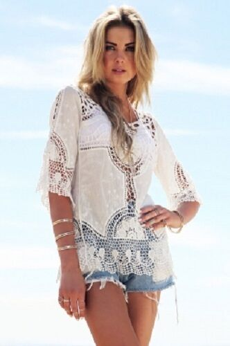 Ladies sexy lace silk crochet lacy casual   beachwear white short sleeve top