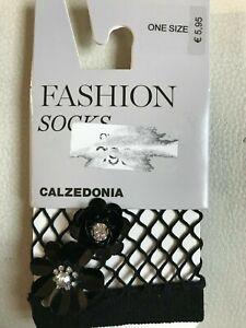 brand new one size Calzedonia fishnet black-white striped socks