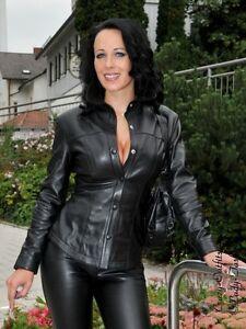 viele modisch ungleich in der Leistung 100% authentifiziert Details zu Lederbluse Leder Bluse Schwarz Druckknöpfe Maßanfertigung