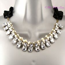 Vintage Glamour Baroque Moulin Gatsby Crystal Pearl Ribon Collar Choker Necklace