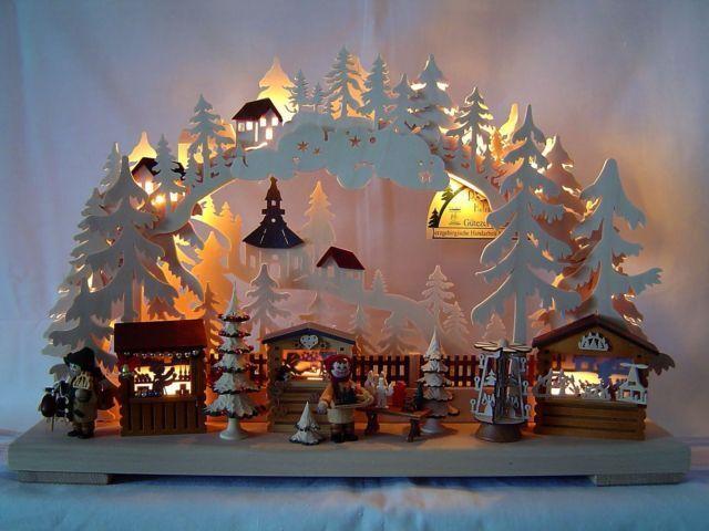 LED Schwibbogen 3d con 2 personajes navideños 43 x 30 cm Erzgebirge nuevo 10634