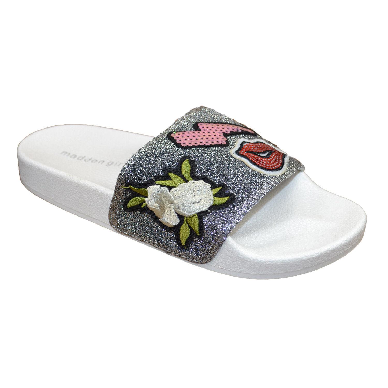 MADDEN GIRL Zimmy Women Slip On Slides Sandals Pewter Grey White
