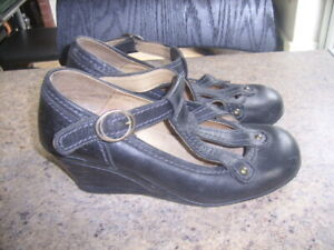 Black Leather FLY Girl Mary Jane Shoes