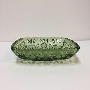 Vintage-Green-Glass-Ashtray-Candy-Nut-Dish-6-5-034-Square-MCM-Starburst-Flower