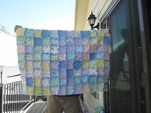 FLANNEL BABY RAG QUILT DREAMTIME DUCK PRINTS FRONT SOLID BLOCKS BACK