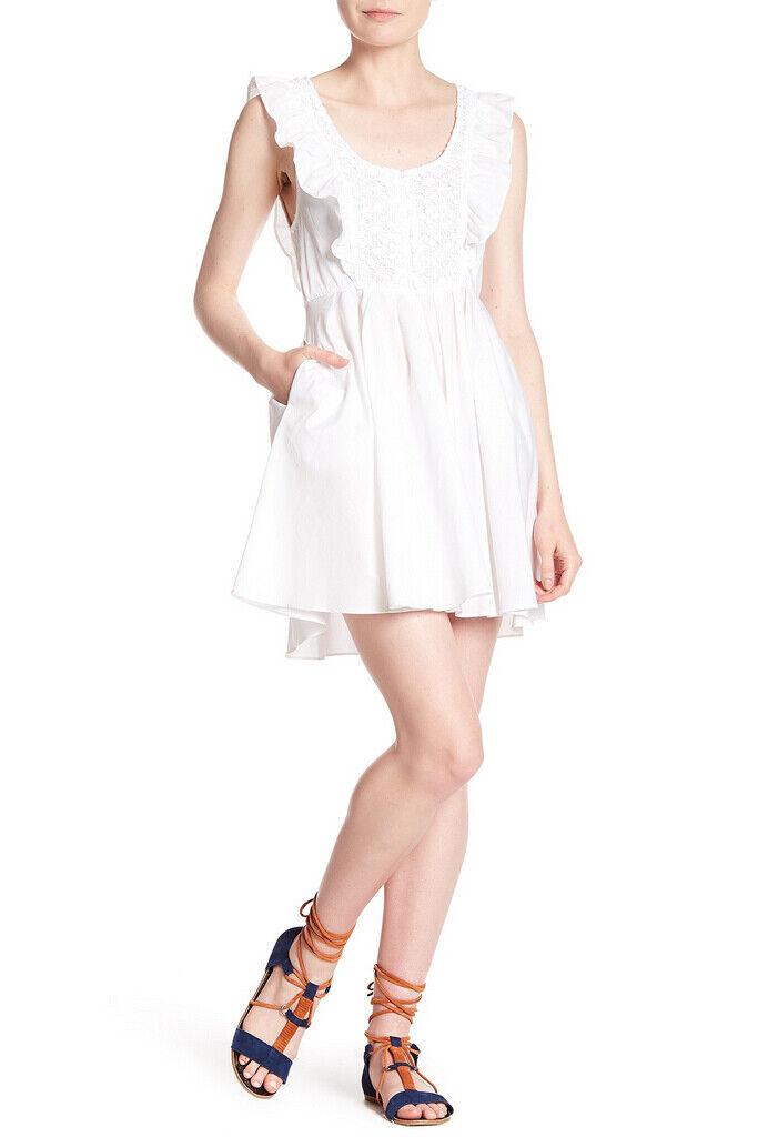 Free People Damen Half Moon OB749554 Kleid Schlank Weiß Größe XS