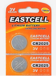 2-x-CR2025-3V-Lithium-Batterie-150-mAh-1-Blistercard-a-2-Batterien-EASTCELL