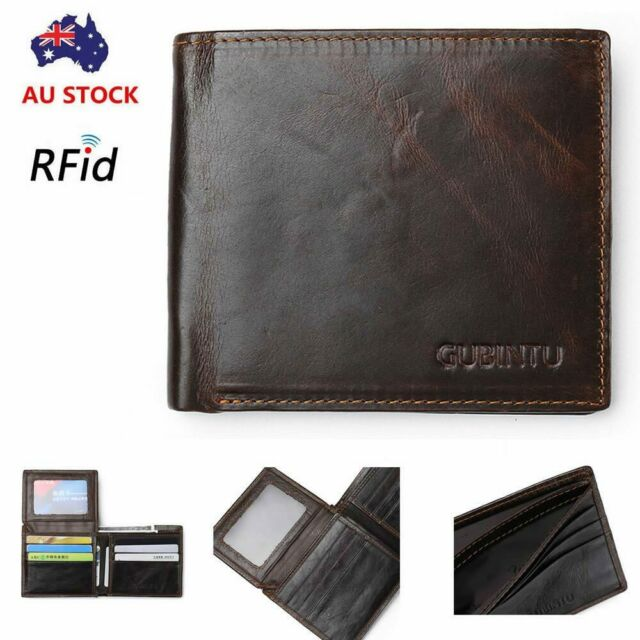 Genuine Leather Mens Purse Bifold Credit Card Wallet RFID Blocking Anti-Scan OZ