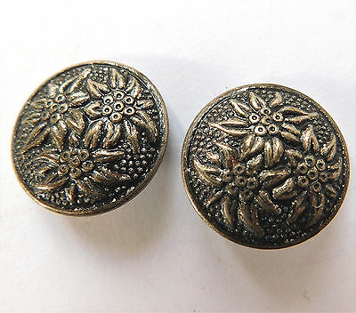 2 vintage flower buttons Edelweiss 7/8 inch (22 mm) silver-colour metal & black