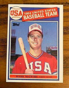 1985-Topps-401-Mark-McGwire-RC-USA-Team-Print-ink-Spot-Rare