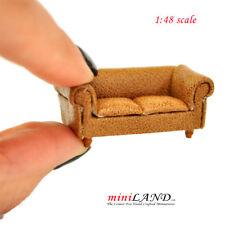 Dollhouse Miniature Brown Tufted Glove Leather Sofa