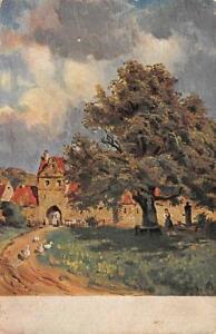 Raritaet-Litho-AK-1916-historisches-Dorf-grosser-Baum-Kuenstlerkarte-1-Weltkrieg