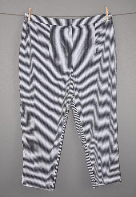 Lane Bryant Women's Navy White Striped Tapered Leg Ankle Pants Size 24 NEW