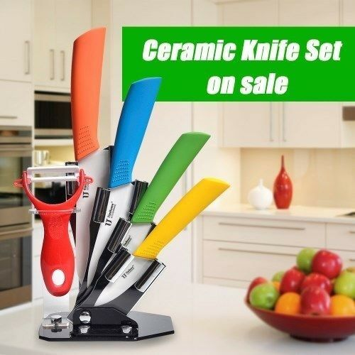 New! 3 Piece Ceramic Knife Set plus Peeler- Colourful!