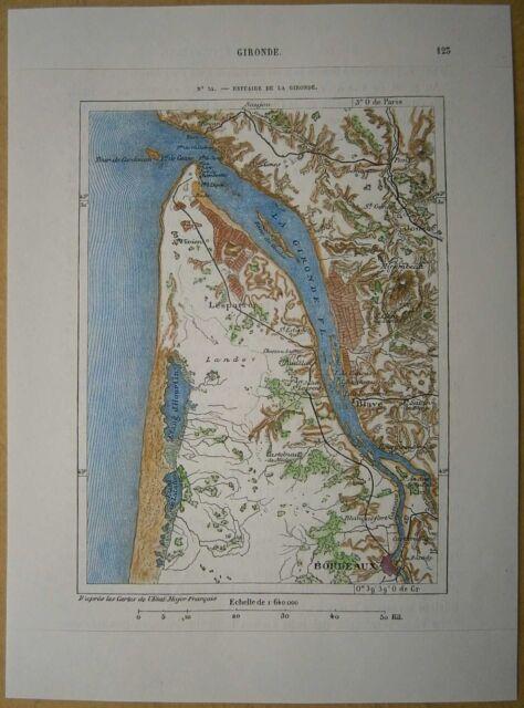 1877 Perron map GIRONDE ESTUARY & BORDEAUX, FRANCE (#34)