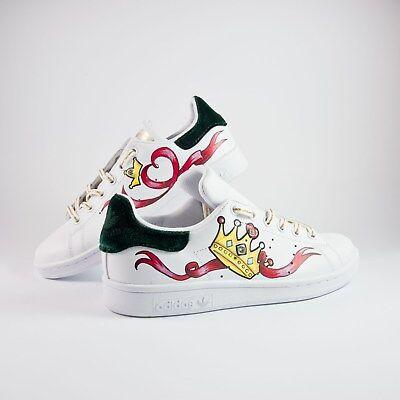 Details zu Schuhe Adidas Stan Smith mit Stoff samt Grün Piu' Eingezogen Herz und Krone