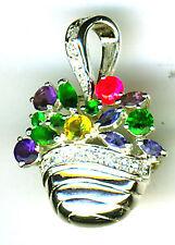 925 Sterling Silver Multi Colour Cubic Zirconia fruit / flowers in Basket Brooch