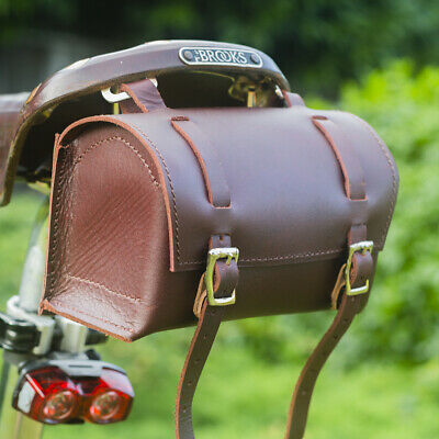 Qualifiziert Genuine Leather Bag Bicycle Saddle Handlebar Frame Vintage Craft Cherry Brown