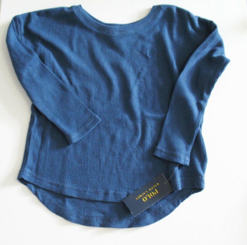 Polo Ralph Lauren Girls Waffle Knit Top Federal Blue Sz 6 - Nwt