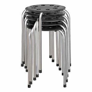 Stack Plastic Black Stool 5pc Set School Office 4 Leg Chair 16Ga Steel Portable
