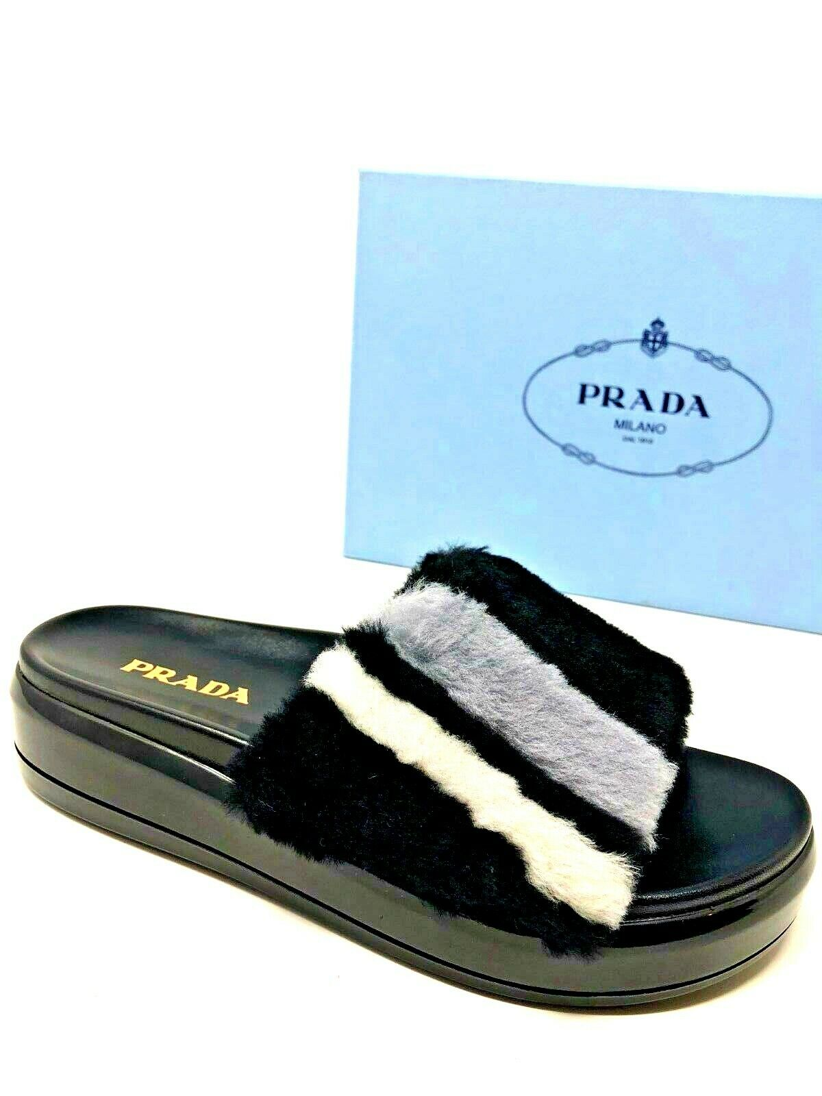 625 New PRADA Womens Fur Slippers Black Slides Ladies shoes Size 6.5 36.5 7 37