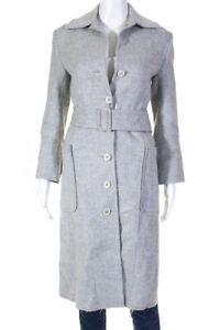 Barneys-New-York-Womens-Belted-Button-Down-Coat-Gray-Wool-Size-Extra-Small