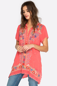 JOHNNY-WAS-Embroidered-MIKONES-Partial-Button-Tunic-Blouse-Scalloped-S-260