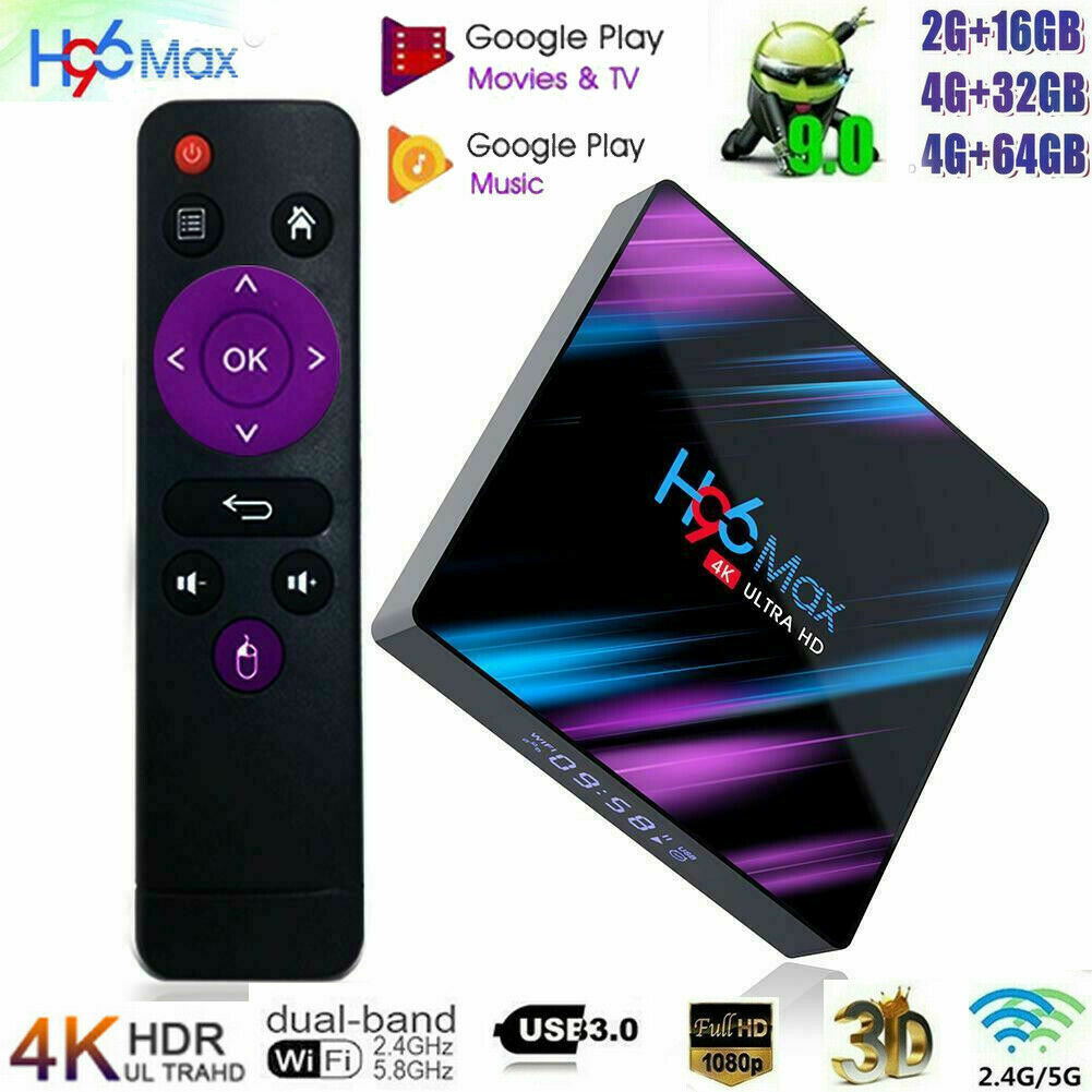 H96 Max 3318 Smart TV Box 4G+64G Android9.0 WiFi Quad Core 1080p 4K Media Player Featured