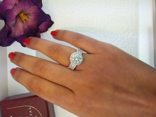 2 CT Diamond 925 Sterling Silver Round Cut Solitaire Engagement Wedding Ring
