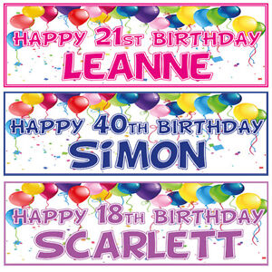2-PERSONALISED-BIRTHDAY-BANNERS-1st-18th-21st-30th-40th-ANY-NAME-ANY-AGE