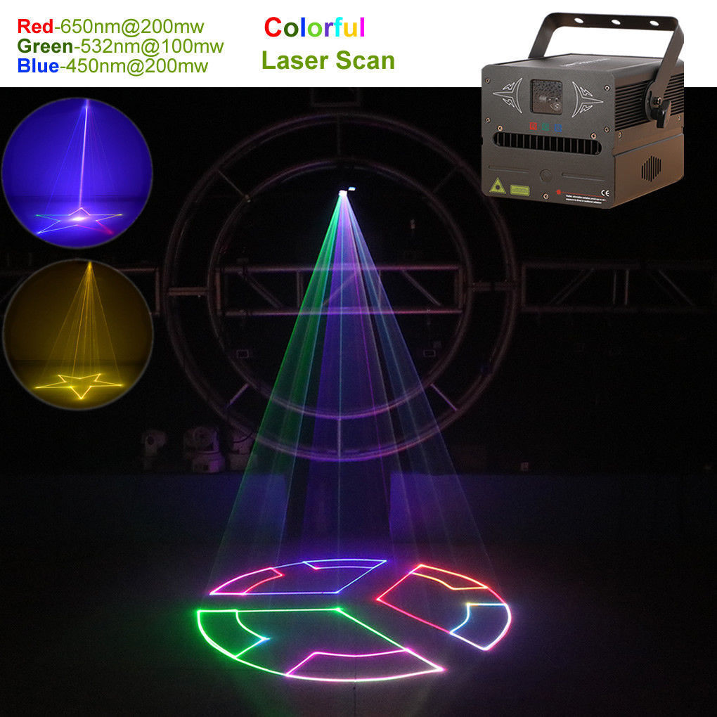 1W RGB Animation Laser Projector Light DMX ILDA SD Card DJ Party Stage Lighting