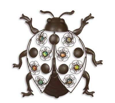 Metall Bunte Acryl Perlen Gartenfigur Käfer im Retro Stil Wanddeko