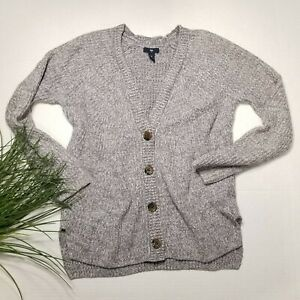 Gap-Womans-Small-Heathered-Gray-V-Neck-Button-Cardigan-Preppy-Grandpa-Sweater