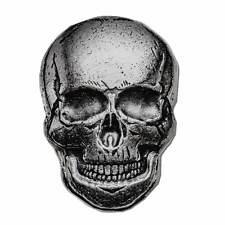 Hand Poured Antiqued Finish 2 oz .999 Silver 3D Human Skull Us Made Bullion Bar