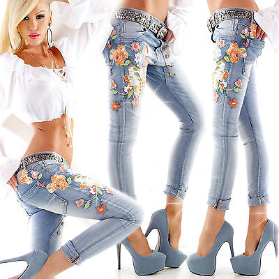 Sexy Women Skinny Embroidery Blue Trouser Ladies Push Up Jeans Size 6 8 10 12 S