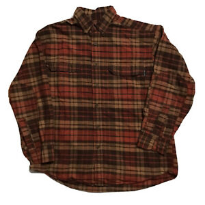 Woolrich-Plaid-Flannel-Long-Sleeve-Button-Down-Mens-Sz-Large-Brown