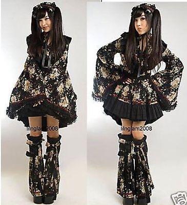 Kawaii Robe gothic lolita geisha waloli kimono Dress + leg warmers + Headdress