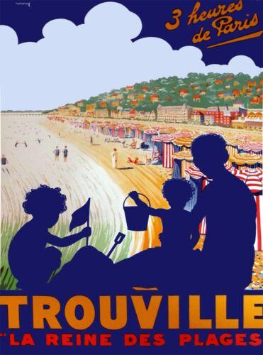 Trouville La Reine des Plages Paris France Vintage Travel Advertisement Poster