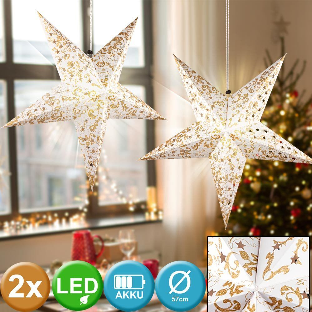 2x LED Christmas hanging lamp ceiling star gold living room X-MAS window jewelry
