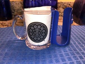 Frankford Candy Oreo Cookie Clear Glass Mug Blue Plastic Holder Cage Ebay