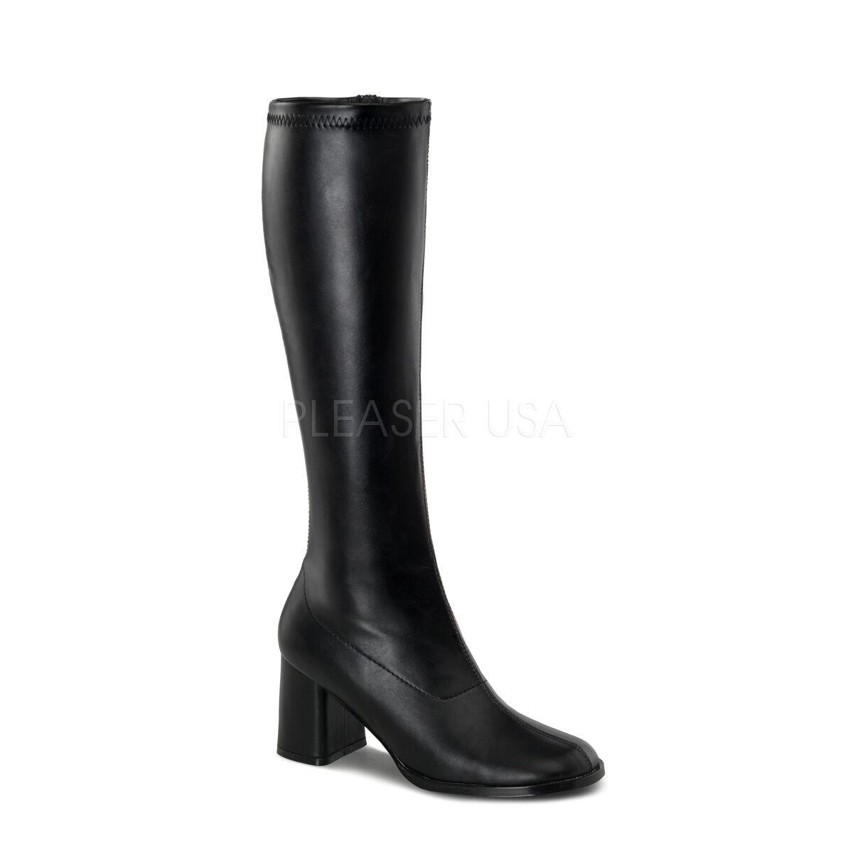 Vestido de lujo Pleaser Funtasma Funtasma Funtasma Gogo - 300 Negro PU Elastizado 70s Discoteca de la rodilla botas altas  buen precio