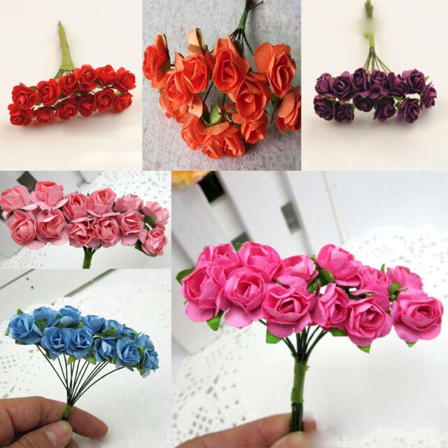 144PCS Artificial Paper Rose Flower Buds Mini Bouquet Party Wedding Decoration