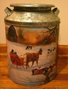 Vintage-Houston-Harvest-Dairy-Metal-Milk-Can-Popcorn-Tin-Horse-Sleigh-amp-Labels