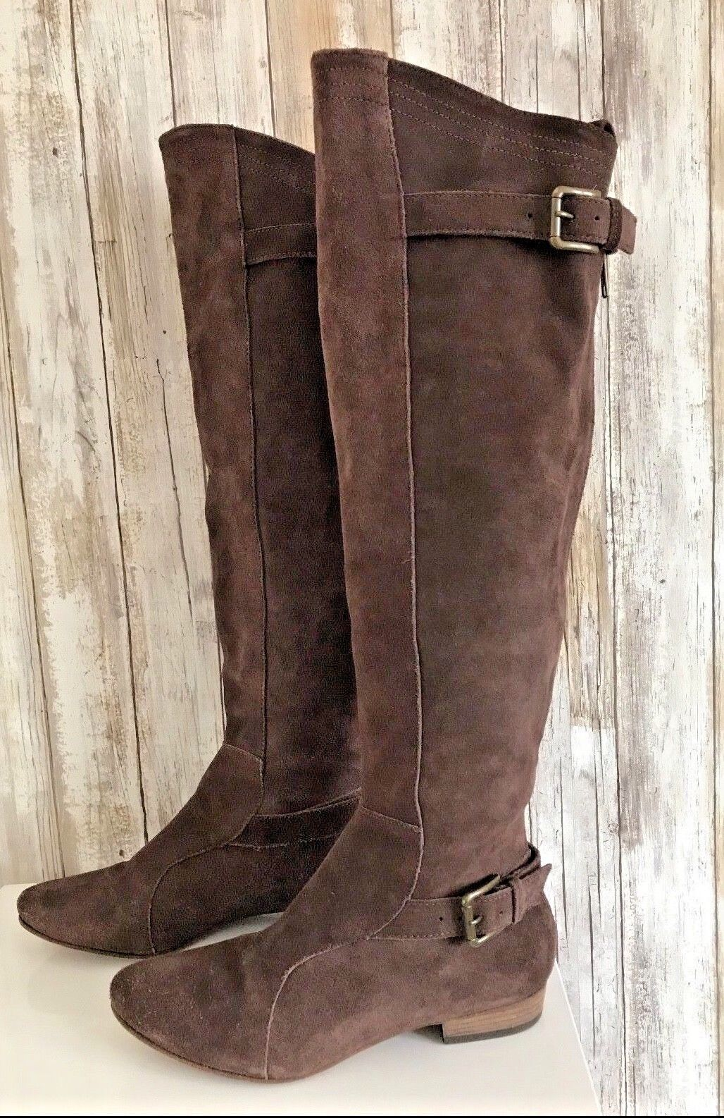 Joie Many Roads Over The Knee braun Suede Flat Stiefel Buckle Zipper 37 6.5 RARE