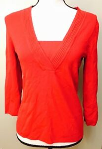Cable-amp-Gauge-Women-039-s-Size-S-Small-Red-3-4-Sleeve-Top-Career-Casual