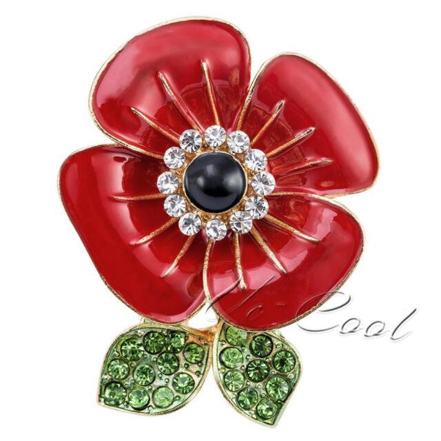 Women Poppy Flower Brooch Pin Crystal Badges Broach Diamante Poppies