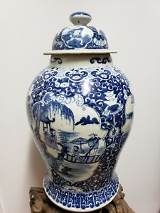 Old-Chinese-Blue-amp-White-Ginger-Jar-Porcelain