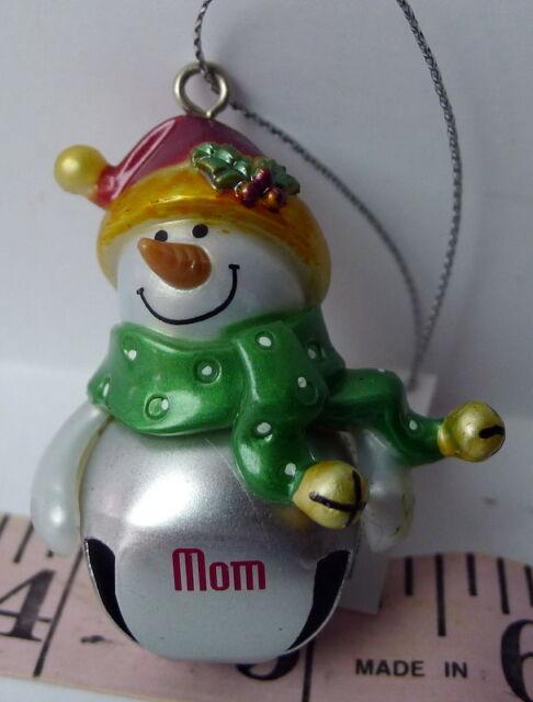 MOM Jingle Bell Ganz Snowman Christmas Name Ornament