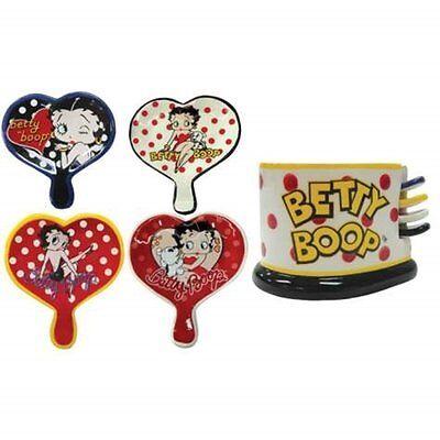 BETTY BOOP KITCHEN SET DECORATION HEART SHAPE TEA BAG HOLDER CERAMIC CADDY GIFT
